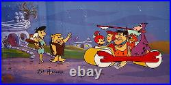 Flintstones Cel Courtesy Of Fred's Two Feet Signed Hanna Barbera Rare Cell