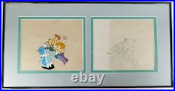 Framed Animation Cel and Original Cartoon Drawing from The Jetsons Hanna Barbera