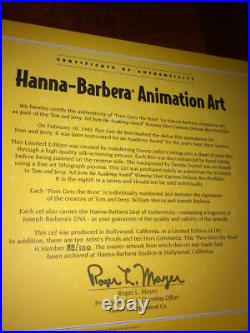 Tom And Jerry Animation Cel Hanna Barbera Signed Puss Gets The Boot Rare Cell